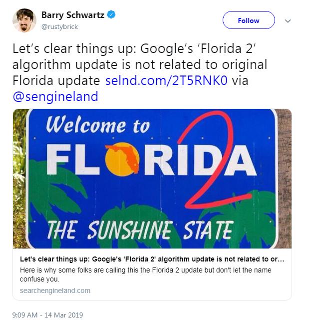 Barry Schwartz Clarified Its Not Google Florida 2 Update