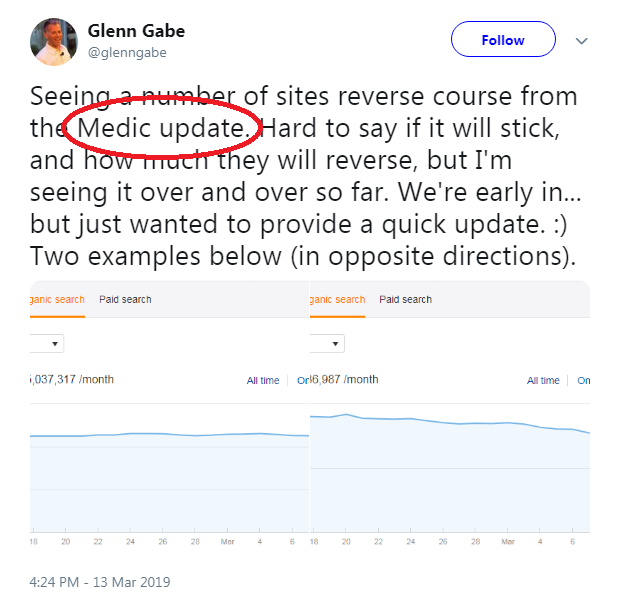 Glenn Gabe Tweet About March 2019 Core Update
