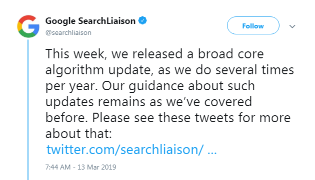 Google Official Confirmation Regards - March 2019 Core Update