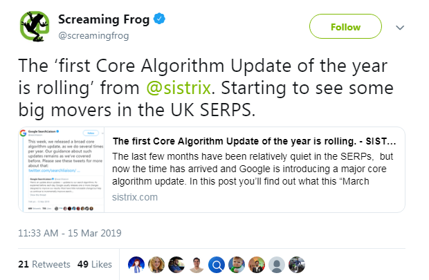 Screamingfrog Tweeted as First Core Algorithm of the Year 2019